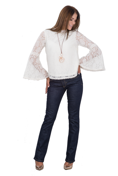 'BOHO CHIC' LACE BLOUSE WITH TRUMPET SLEEVES