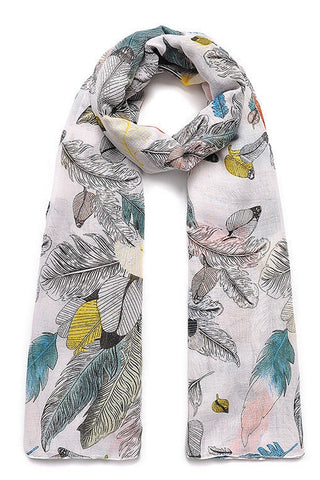 SCARF WITH FEATHER PRINT