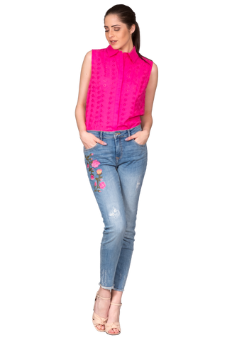 ANKLE-LENGTH CROPPED JEANS WITH EMBROIDERY
