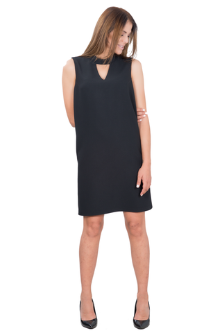 LOOSE SLEEVELESS DRESS WITH STAND-UP COLLAR