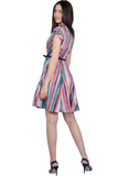 MULTI COLOURED WRAP DRESS WITH BELT