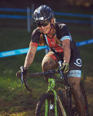 woman riding in a bike race
