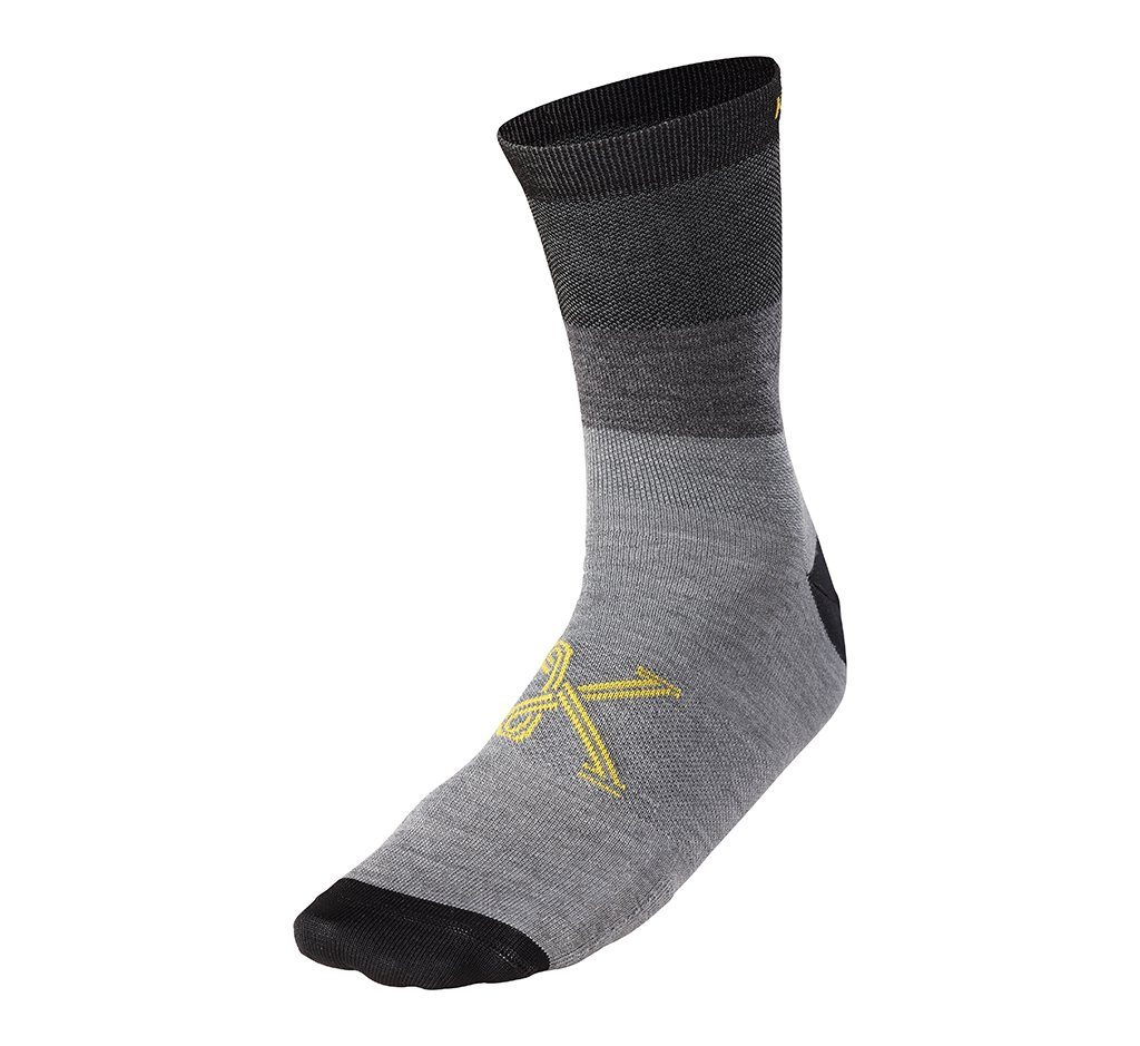 "Merino B Line Sock 6"" Grey Heather"