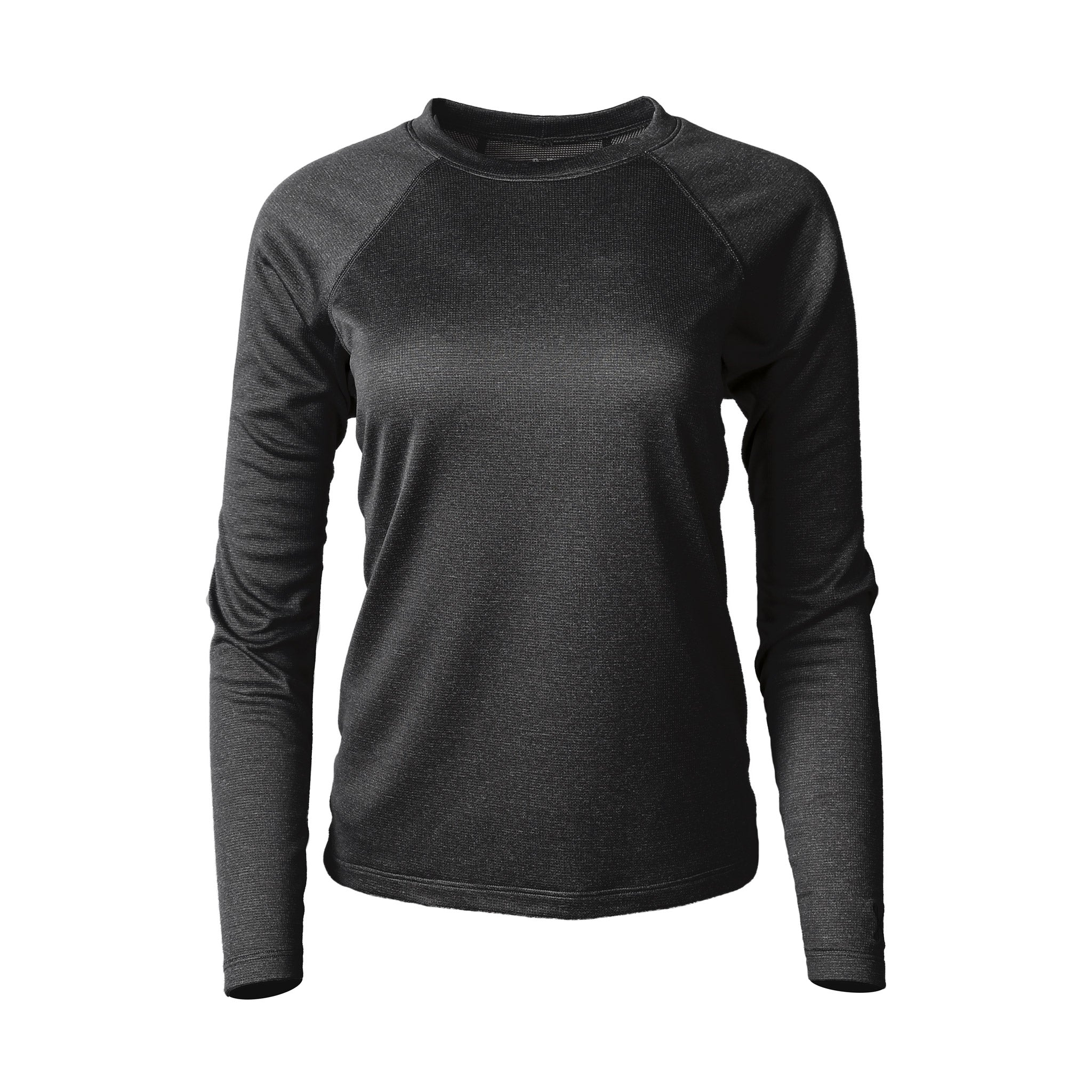 Lory Merino Crew Top Black Heather