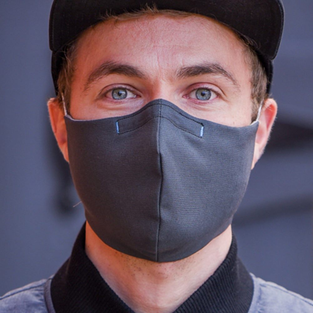 Man wearing Kitsbow Face Mask, Reusable, HEPA Type Detail
