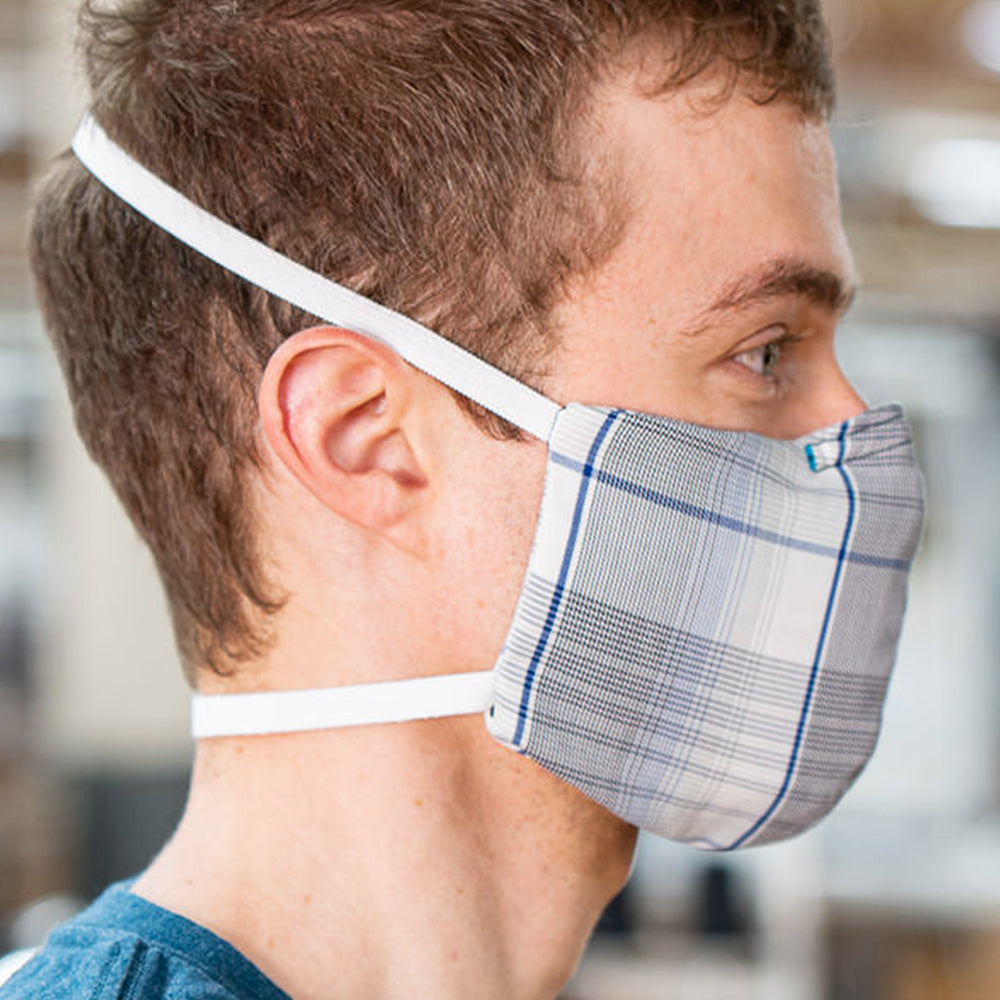 Man wearing Kitsbow Face Mask, Reusable, HEPA Type Providence Grey