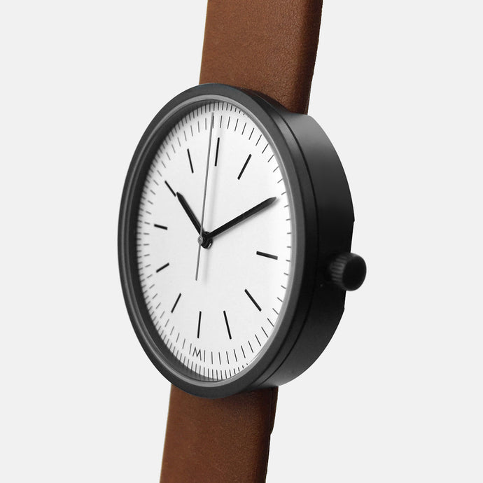 Black PVD / Tan Calf Leather Strap