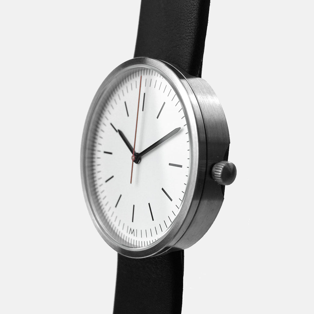 Brushed Steel / Black Calf Leather Strap