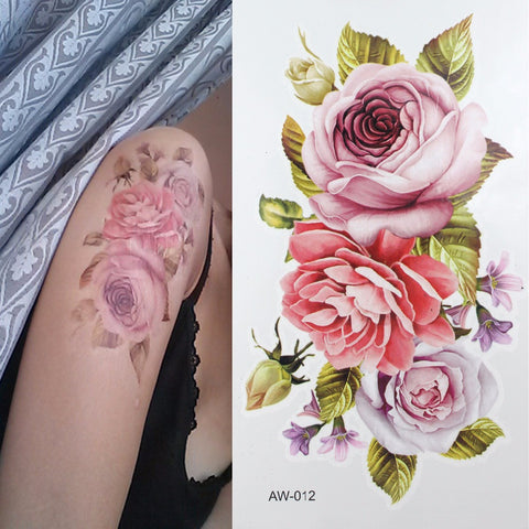 temporary rose tattoo
