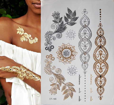 Metallic, Gold, and Silver Flash Tattoos