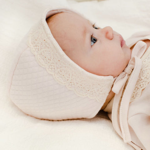 quilted cotton baby bonnet