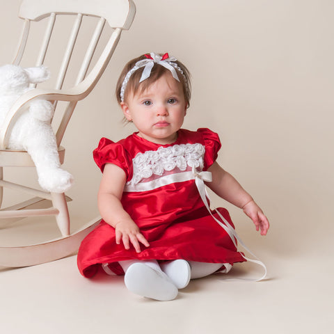 babys first christmas outfit red dress