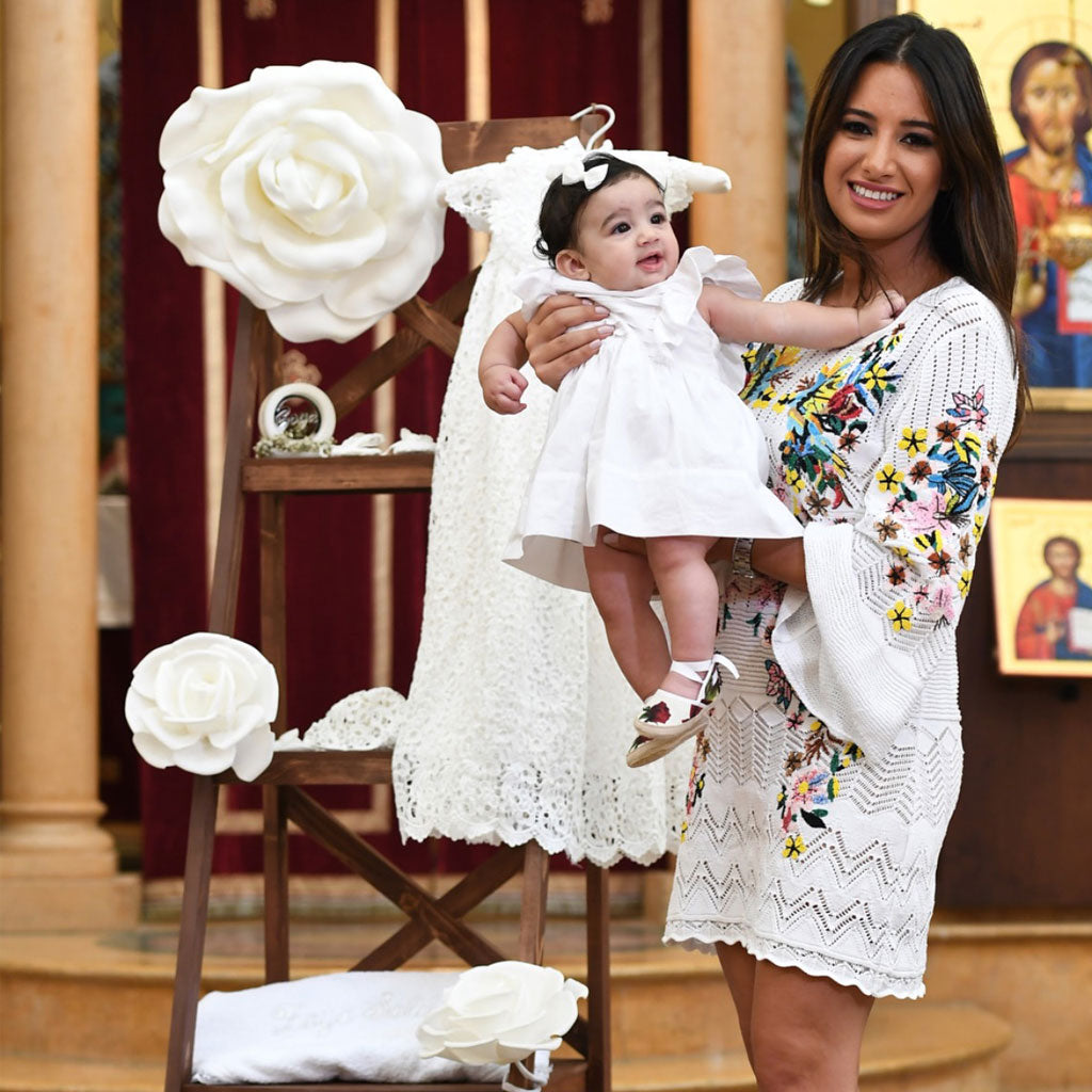 Baptism Photos | Getting Dress in the Lola Christening Gown & Bonnet