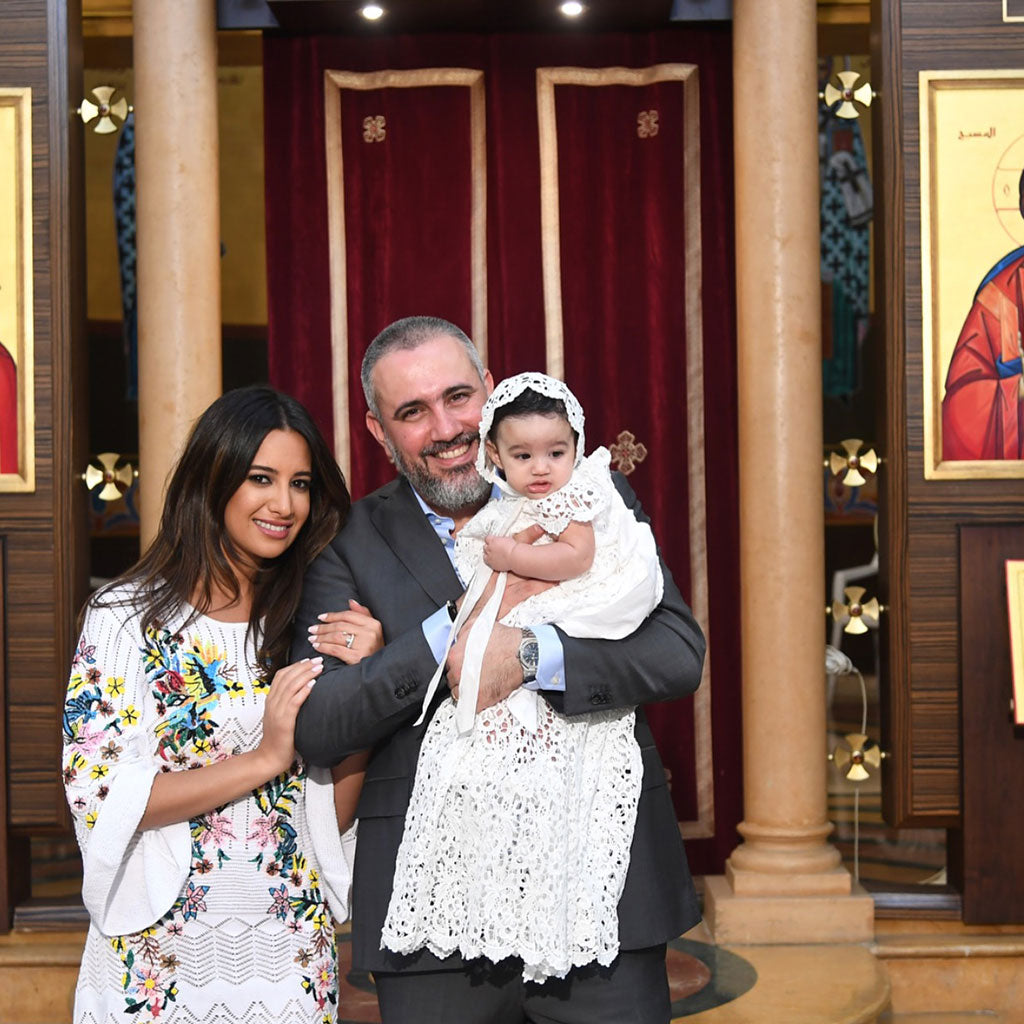 Baptism Photos | Zoya's Baptism in Lebanon wearing the Lola Christening Gown & Bonnet