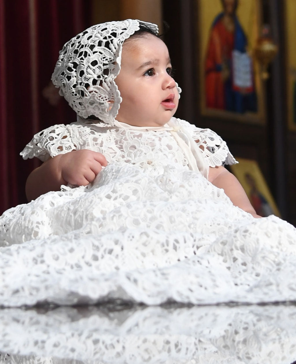 Zoya's Baptism Day | Lola Christening Gown & Bonnet Set by Baby Beau & Belle