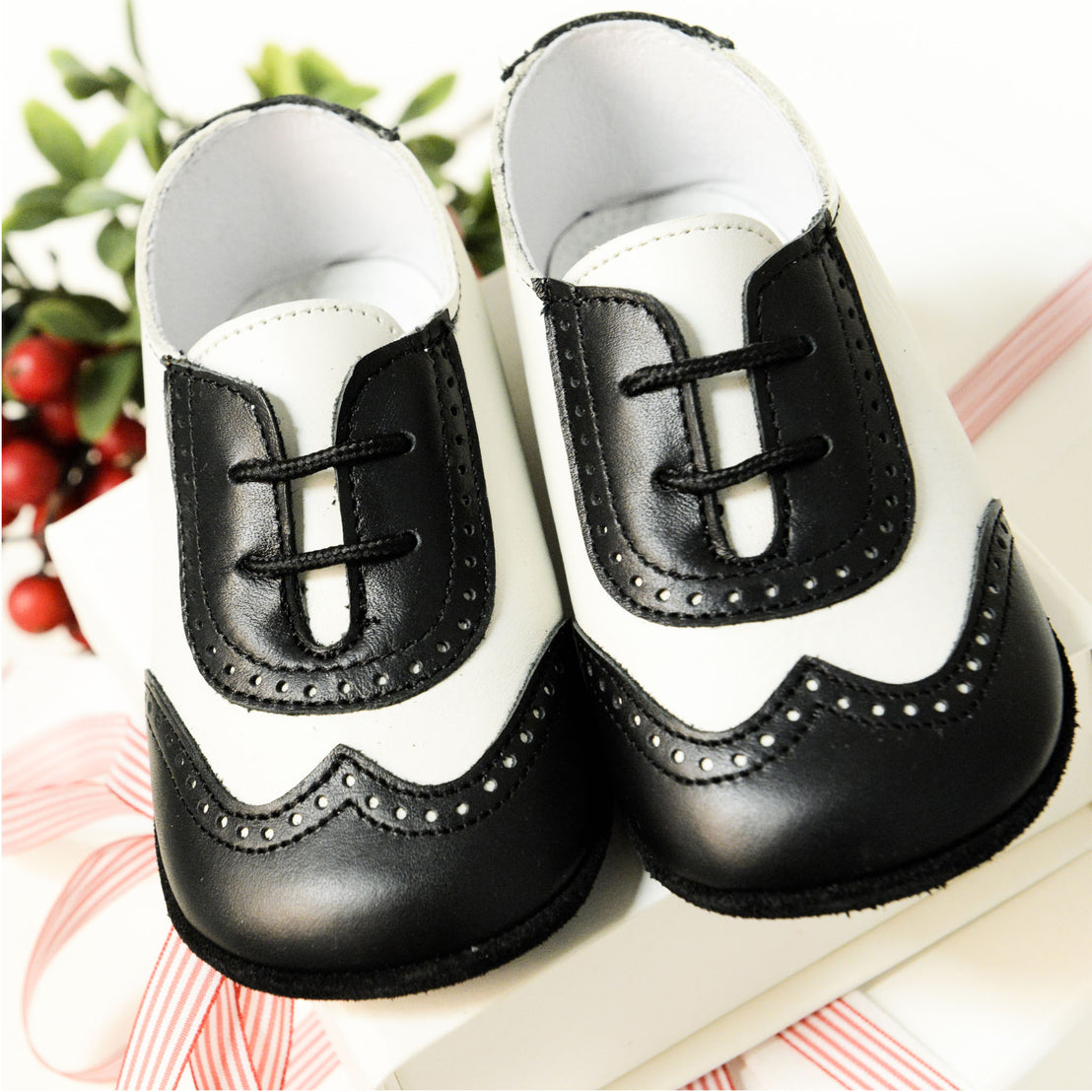 Boys Black & Ivory Wingtip Shoes