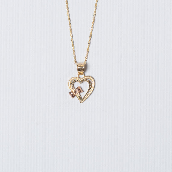 14K Gold Bow Heart with Chain