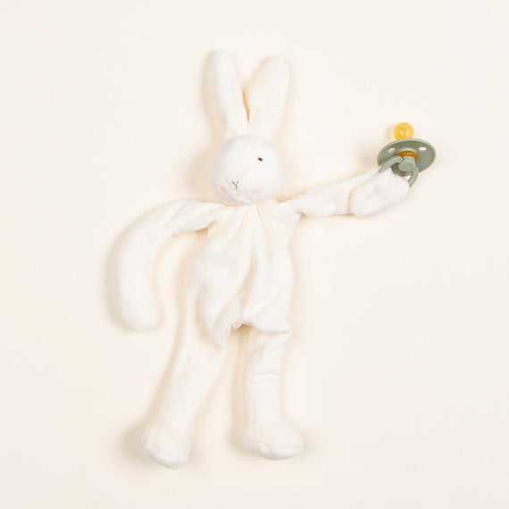 White Silly Bunny Buddy | Sage Pacifier