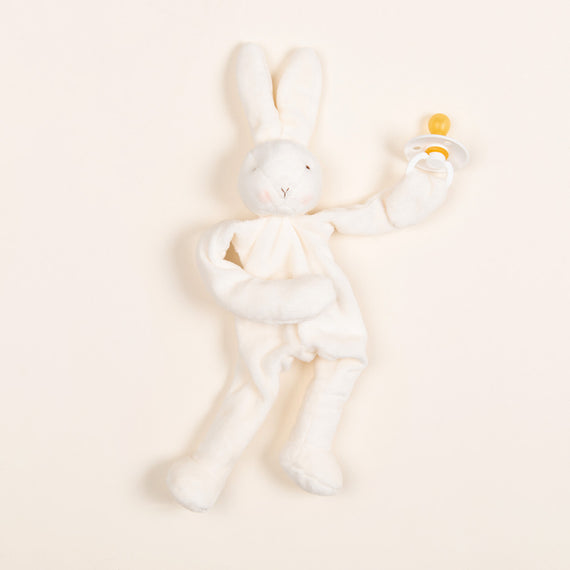 White Silly Bunny Buddy | Ivory Pacifier
