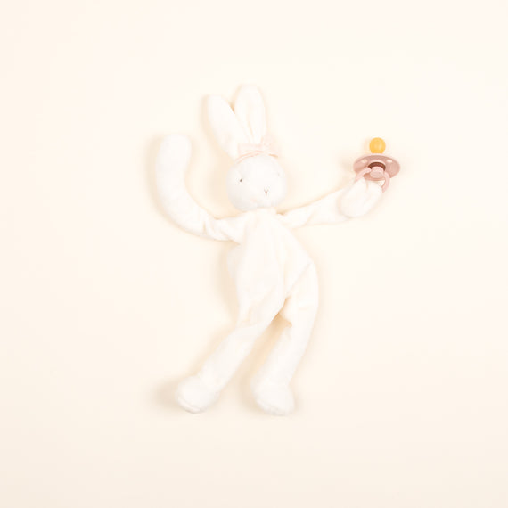 White Silly Bunny Buddy | Mustard Pacifier