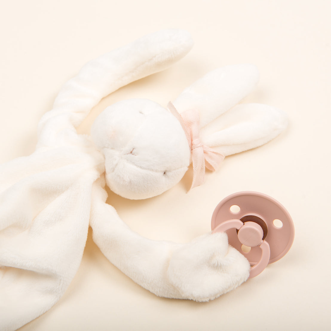 White Silly Bunny Buddy | Blush Pacifier