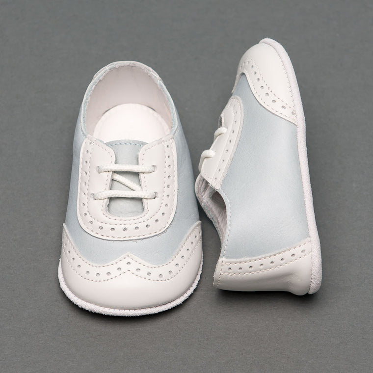 Boys Ocean Blue & Ivory Two Tone Wingtip Shoes