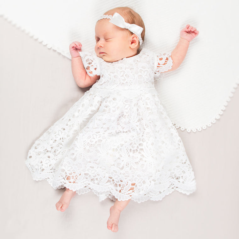 Lola Newborn Lace Dress & Bonnet Set
