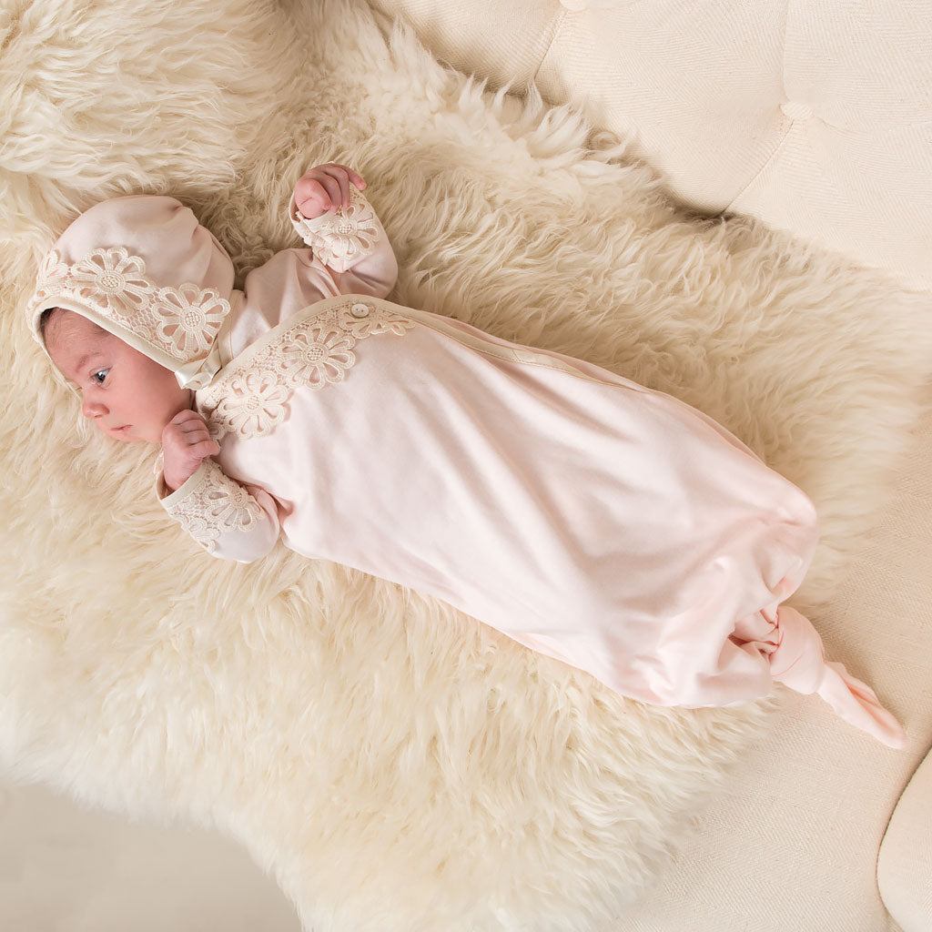 Baby Layette - Hannah Knot Gown & Bonnet – Baby Beau and Belle