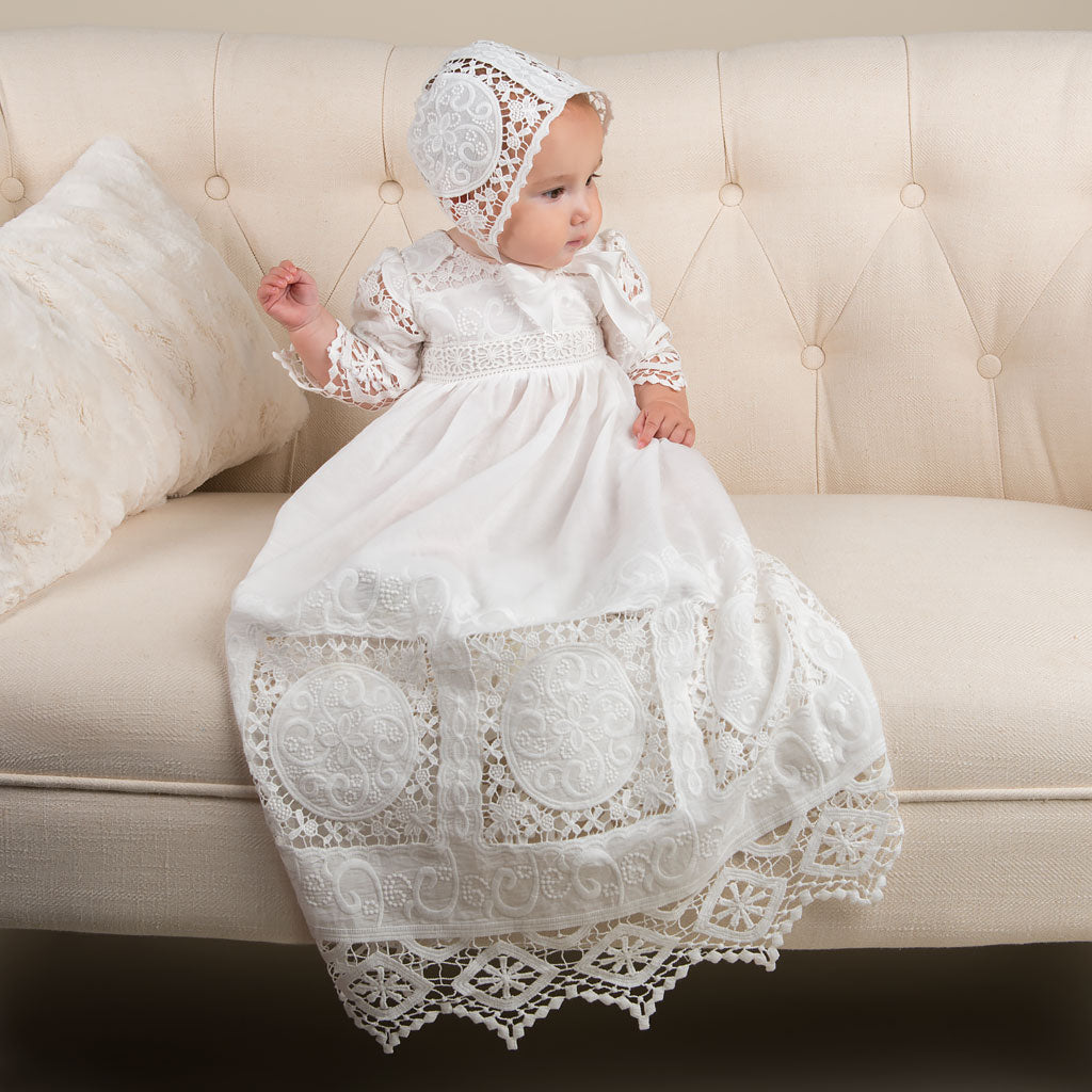 Adeline Lace Christening Gown & Bonnet – Baby Beau and Belle