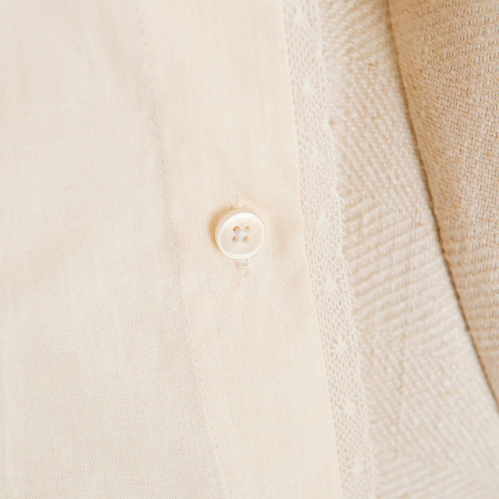 Muslin Keepsake Garment Bag Button Detail