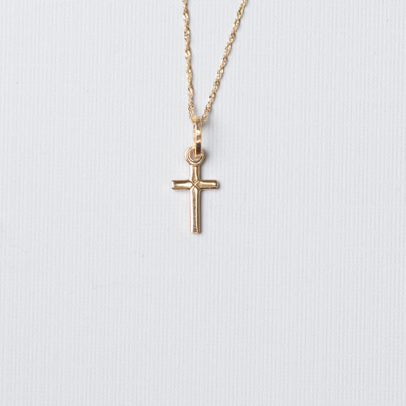 14K Gold Cross With Chain