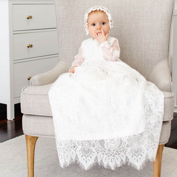 Victoria Long Sleeve Christening Gown & Bonnet
