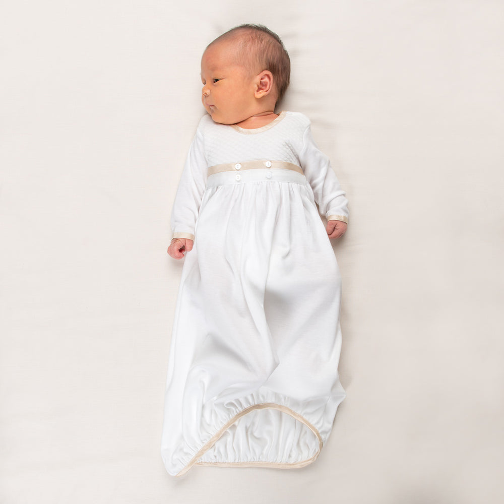 Liam Cotton Newborn Gown & Bonnet