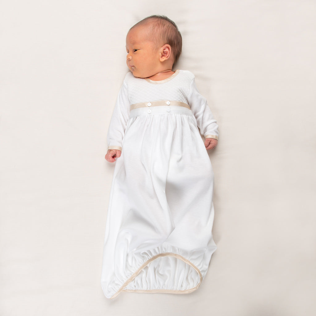 6734ac12ec90 Liam Cotton Newborn Gown - Boys Take Home outfit - Boys Baptism Gown ...
