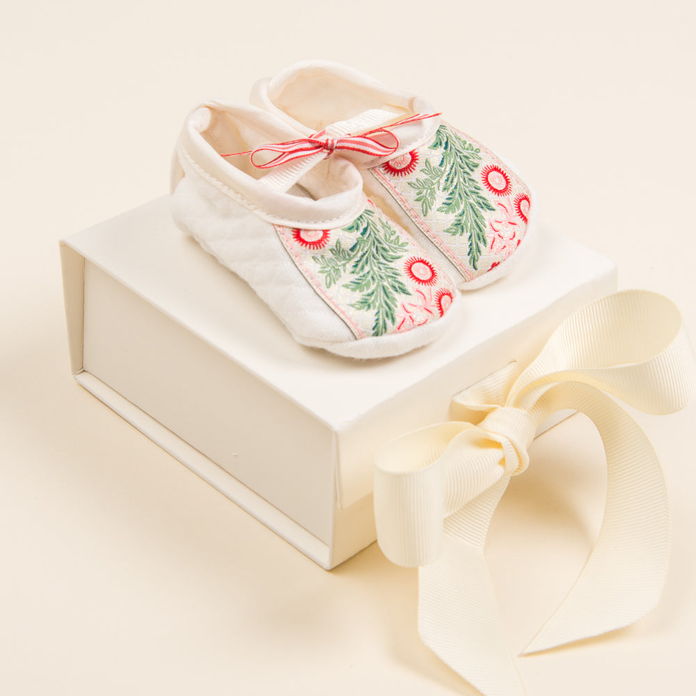 Holiday Floral Ribbon Quilted Booties