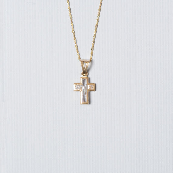 14k Gold Inlaid Cross Charm With Chain