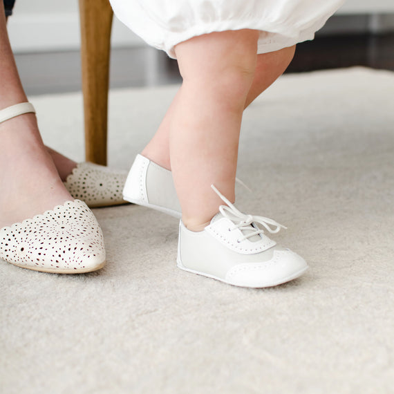Boys Ivory Two Tone Wingtip Shoes