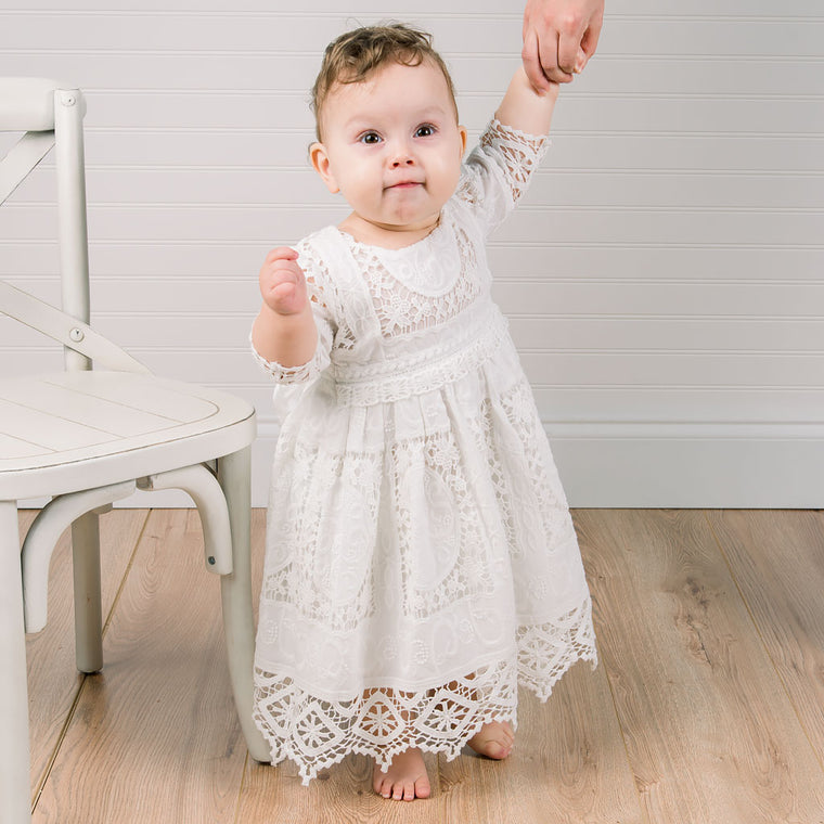 Adeline Lace Dress & Bloomers Set