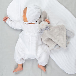 Elijah Newborn Jumpsuit & Bonnet | Quilted Cotton
