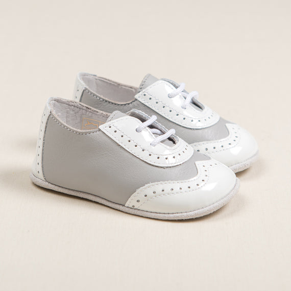 Boys Grey & White Two Tone Wingtip Shoes