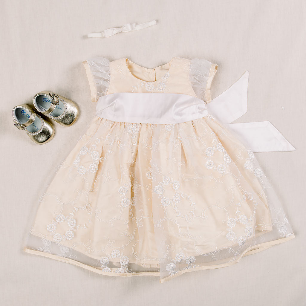 Fiona Gold Dress & Headband (3-6 Months Only)
