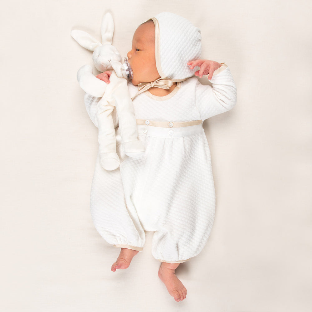 Liam Quilted Newborn Jumpsuit & Bonnet