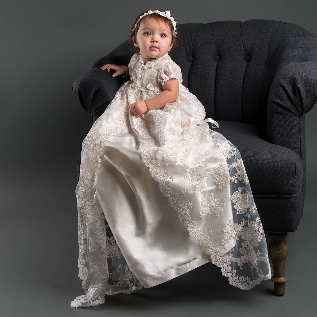 Penelope Christening Gown & Headband