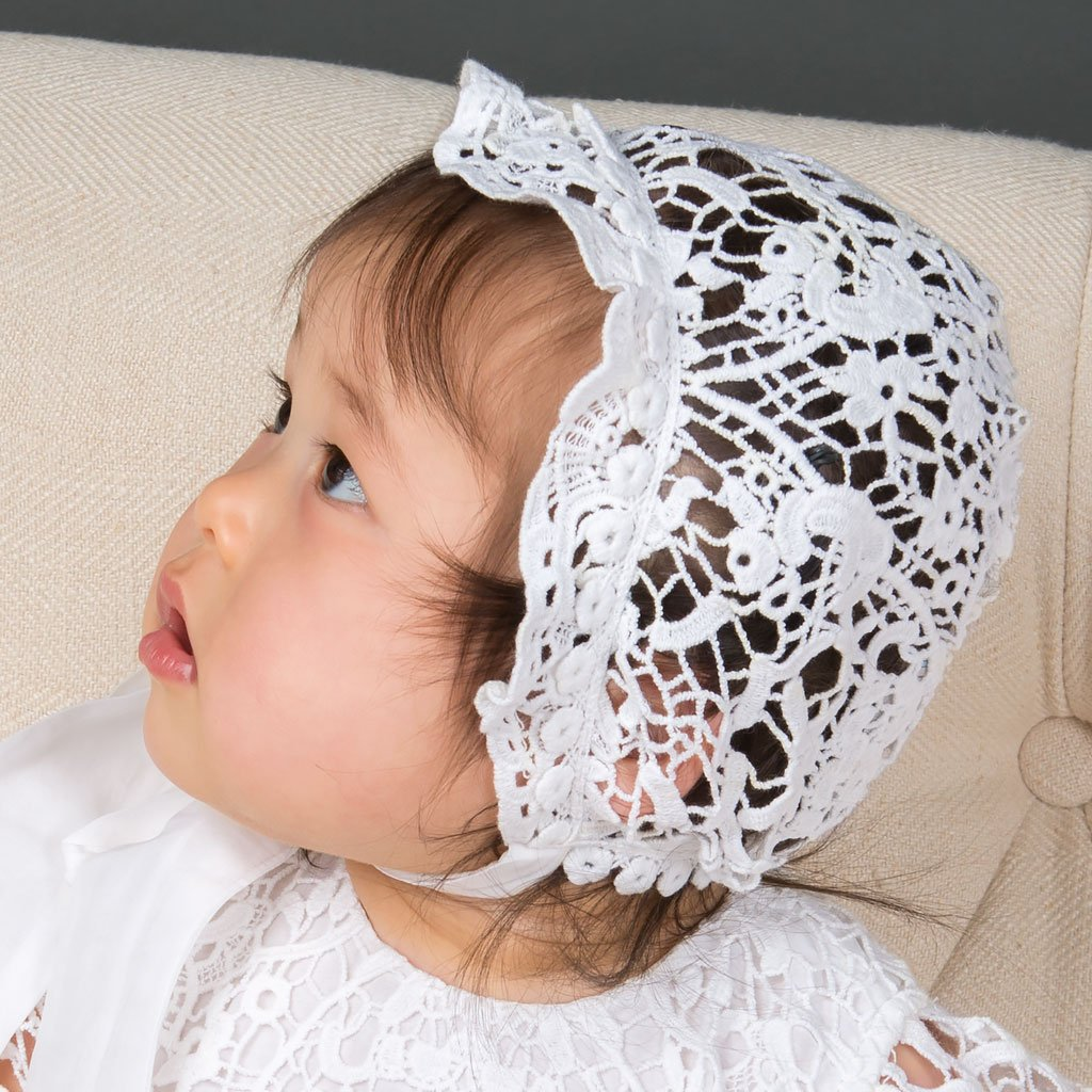 Grace White Lace Bonnet