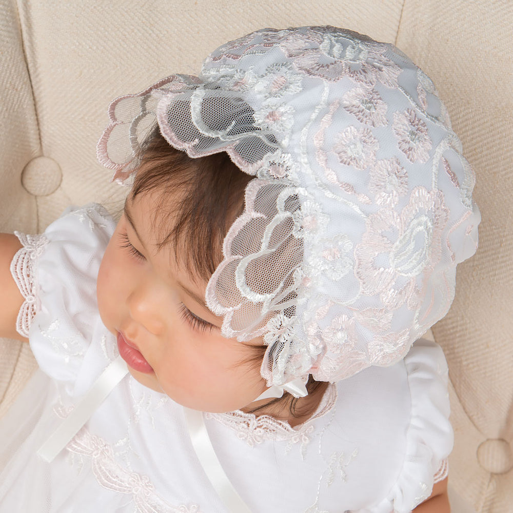 Joli Ruffled Lace Bonnet