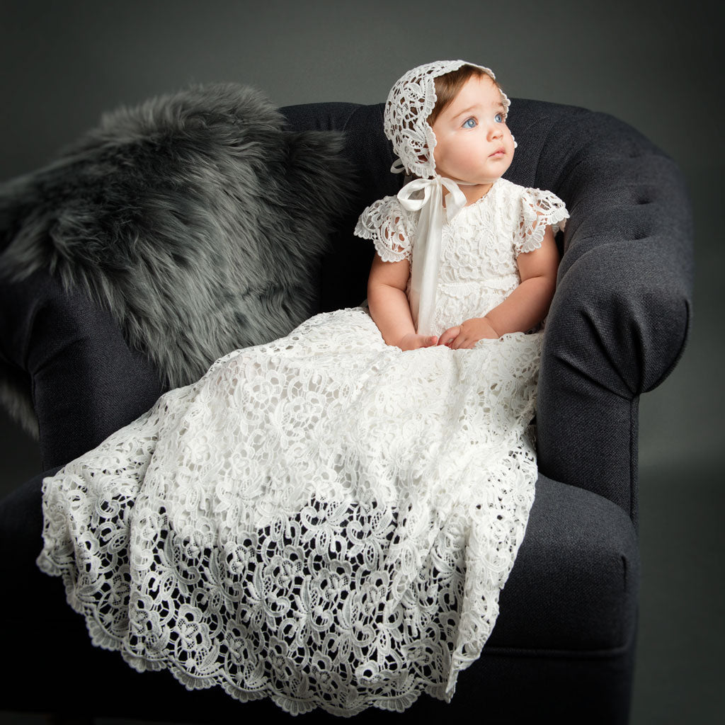 Girls Christening Gown - Lola Baptism Gown & Bonnet – Baby Beau and ...