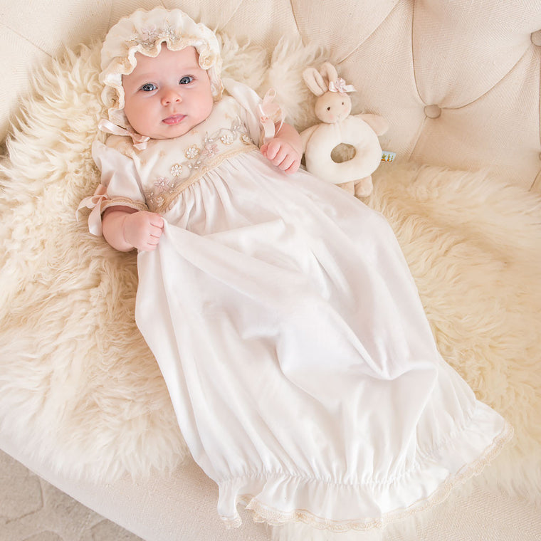 Jessica Newborn Gown & Bonnet Set