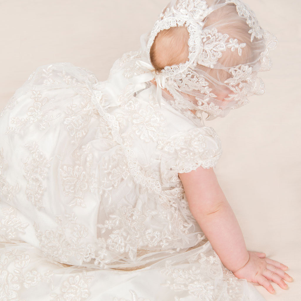 Penelope Christening Gown, Bloomers & Bonnet