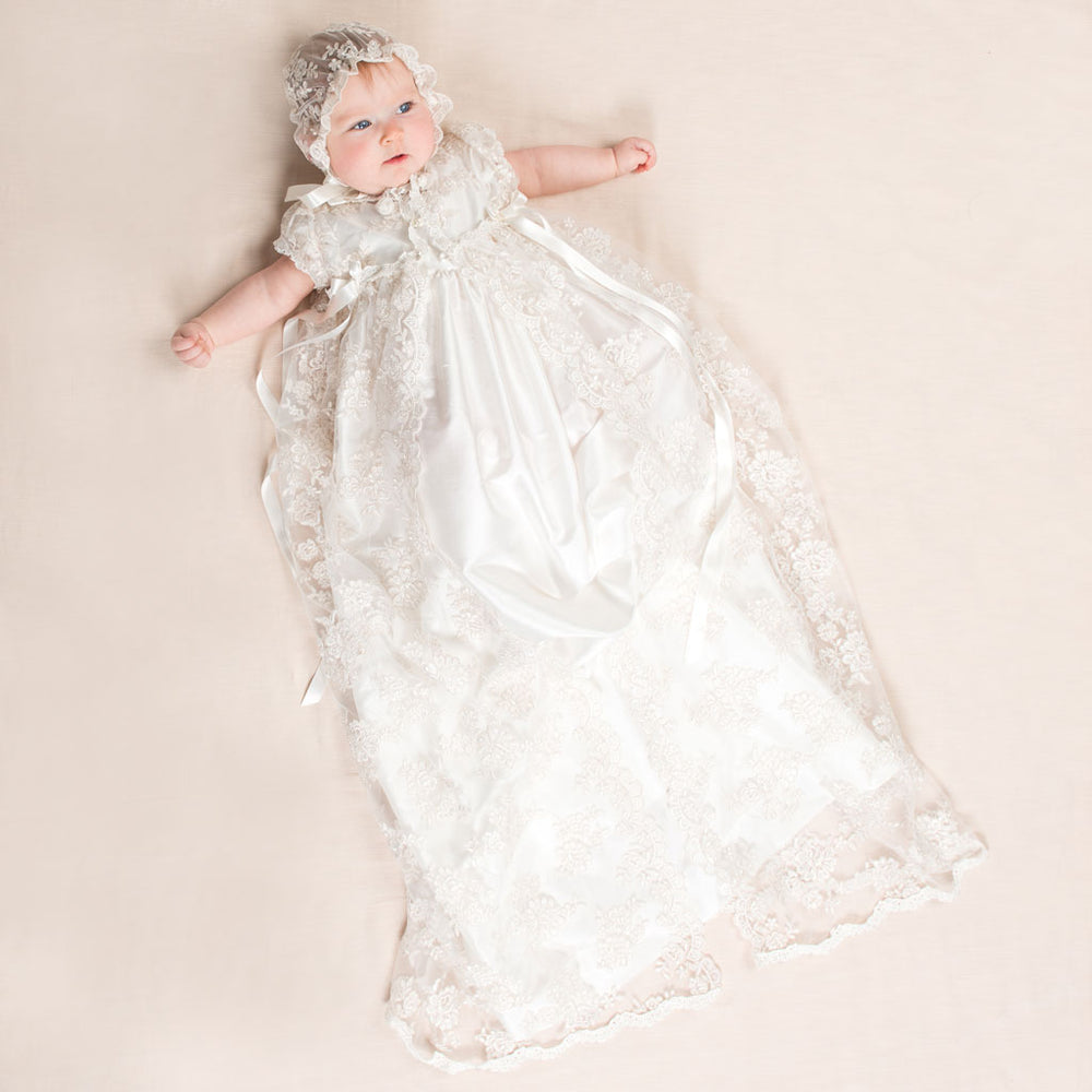 Penelope Christening Gown & Bonnet *Ships by 2/18*