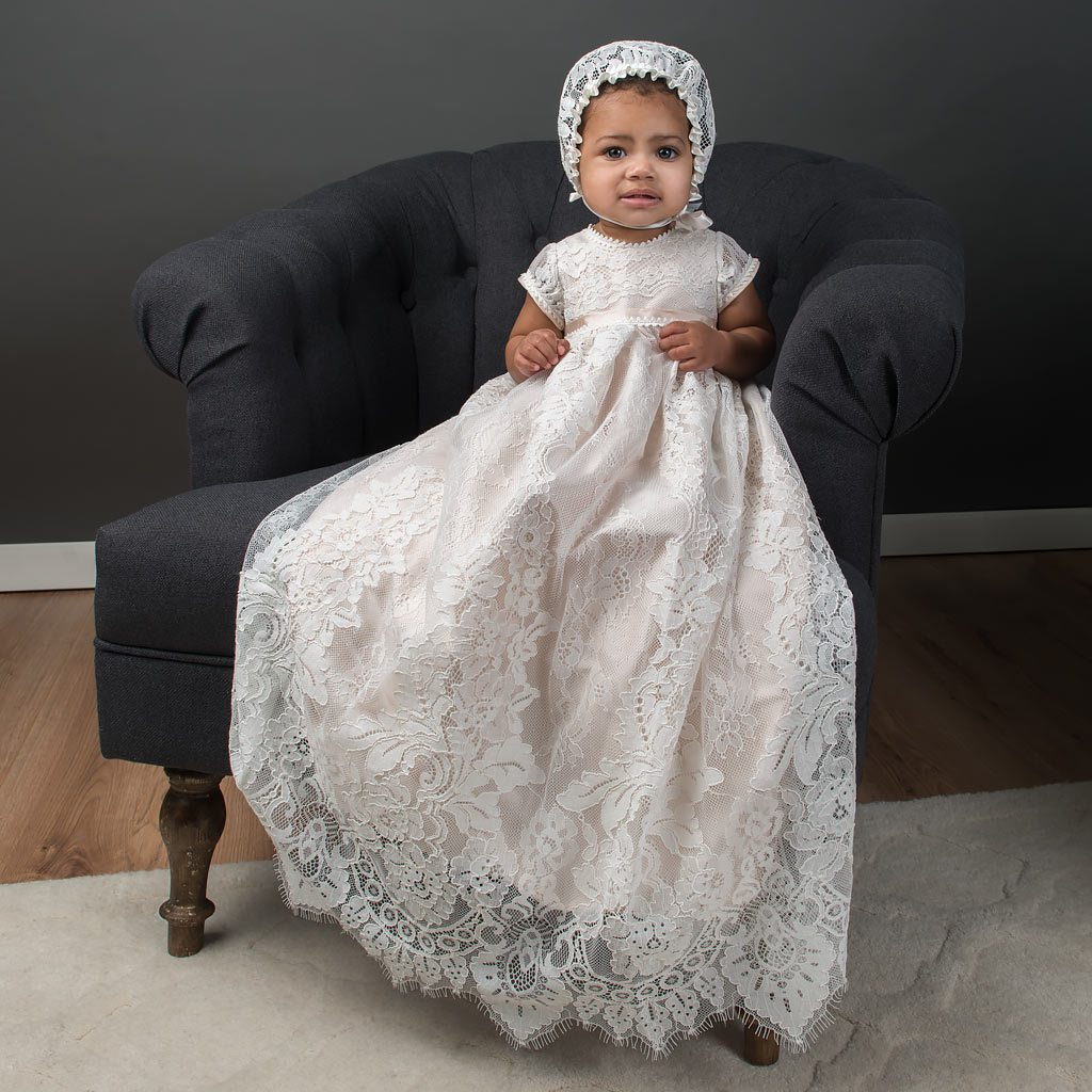 Victoria Puff Sleeve Christening Gown & Bonnet (9-12mo White Silk Only)